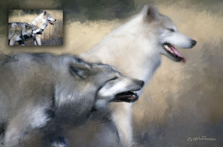 Two Wolves Painted with Corel Painter X3
